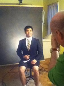 Taking my fraternity picture